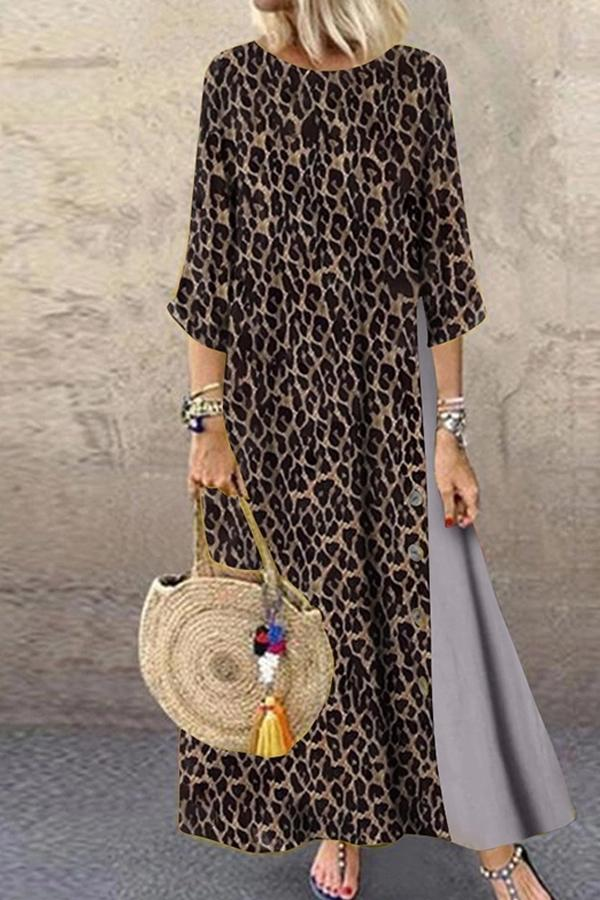 Casual Round Neck Animal Printed Dress