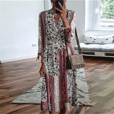 Floral Stitching Long Sleeve Casual Dress