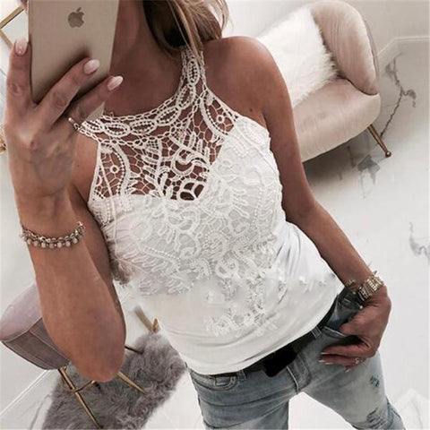 Women's Solid Color Lace Stitching Vest