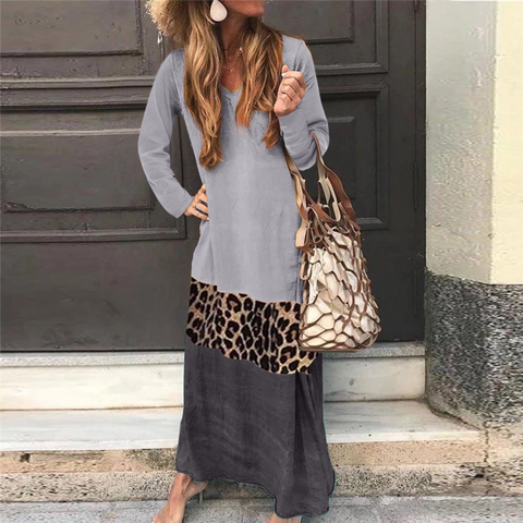 Beach V Neck Leopard Print Patchwork Dress