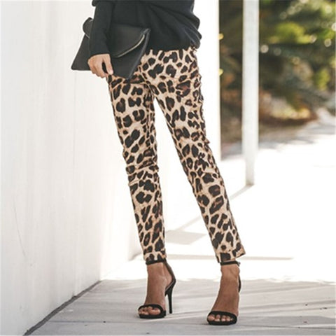 Sexy Leopard Print Shown Thin Slacks Pants