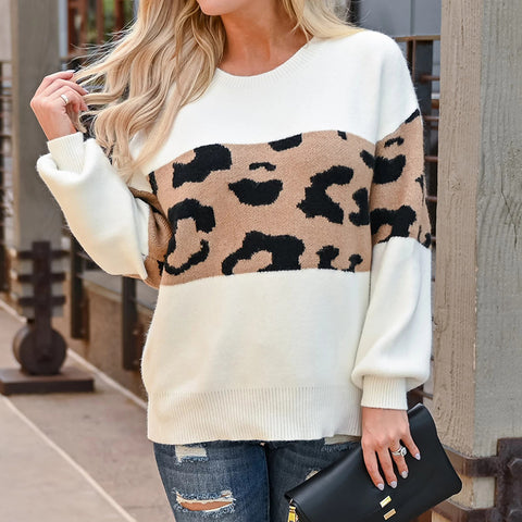 Women's Fashion Contrast Color Leopard Printed Long-Sleeved Sweater