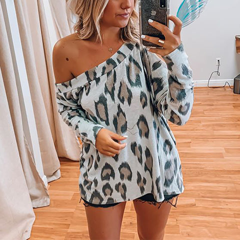 Sexy Off-shoulder Leopard Print Loose Knitwear