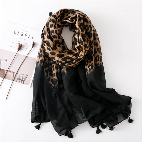 Fashion  Cotton    Linen Leopard  Gradient  Scarf Long Paragraph Wild Ladies Scarf   Dual-Use Shawl