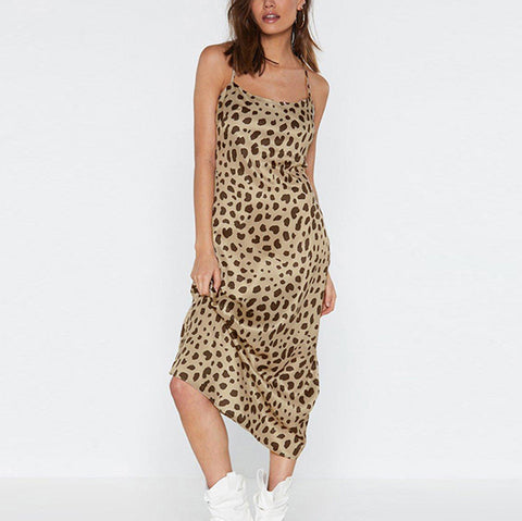Sexy Leopard Print Bare Back Sling Dress