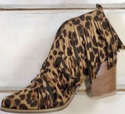 Fringed leopard fashion bare boots
