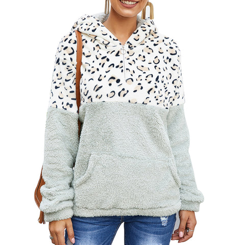 Leopard-print Solid-color Split Large-pocket Hoodie