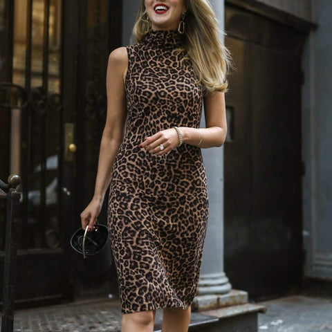 Modern Leopard Print High Collar Sleeveless Fitted Mini Dress