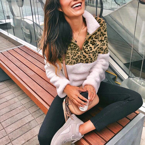 Casual Leopard Stitching Long Sleeve Zip Sweatershirt