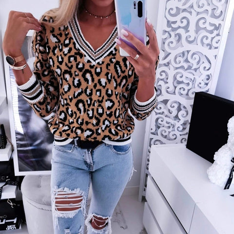 Sexy V Neck Leopard Print Sweater