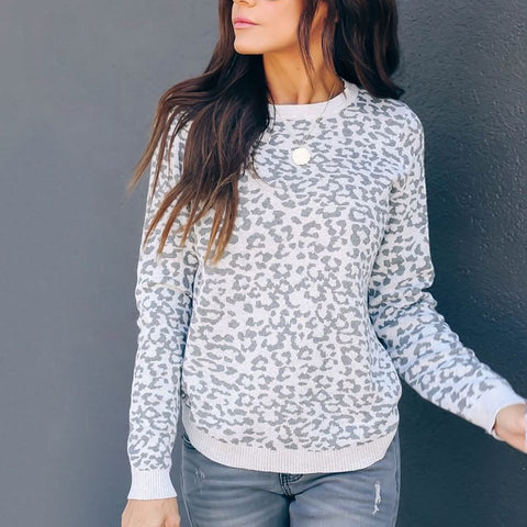 Simple Round Neck Leopard Print Long Sleeve Sweater