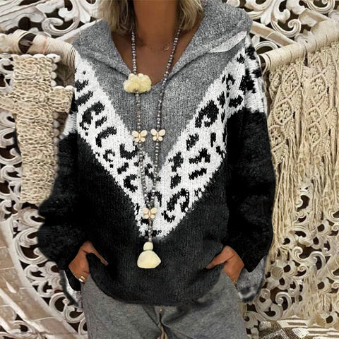 Women's Casual Color Matching Animal Printed Long Sleeve Jacket