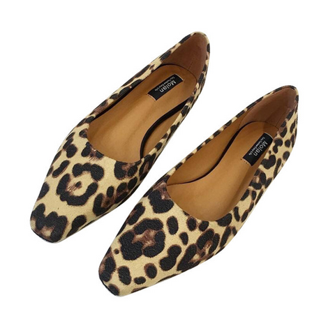 Leopard-print shallow square square flat shoes