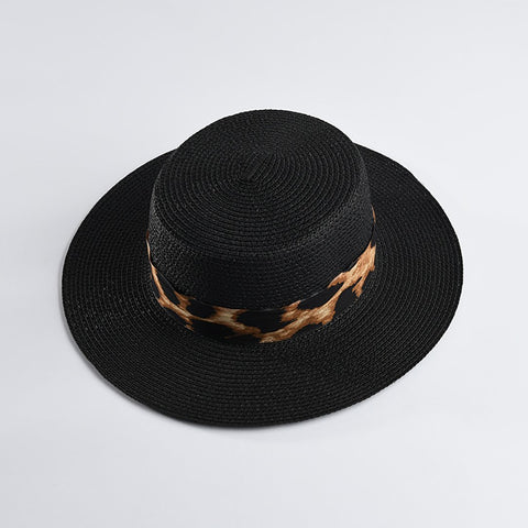Leisure Flat Background Leopard Pattern Wide Hat Straw Sunshade Cap