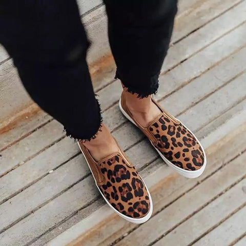 Casual leopard print flat loafers single shoes