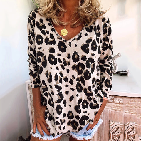Women's V-neck long-sleeved leopard print casual T-shirt