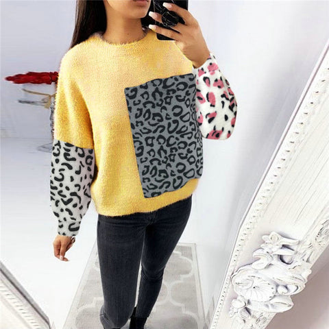 Casual Loose Round Neck Leopard Knit Top
