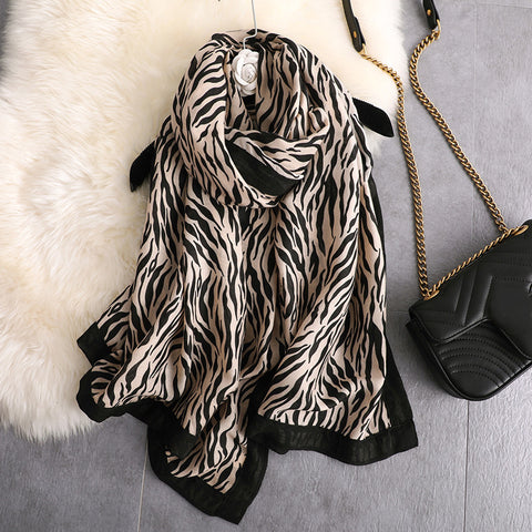 Fashion Zebra Pattern Sunscreen Beach Towel Scarf