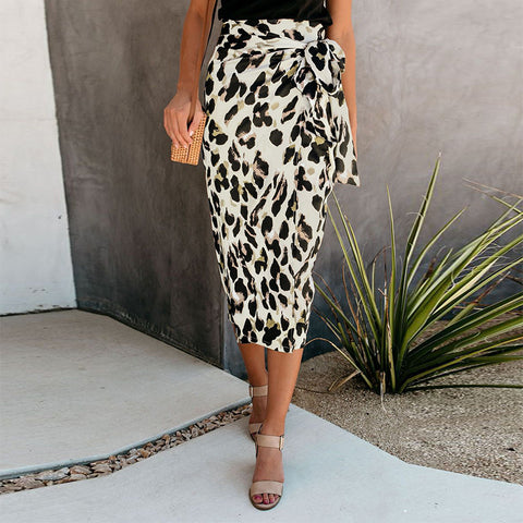 Fashion Leopard Printed Colour Split Skirt