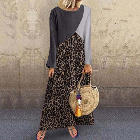 Casual Women Leopard Colouring Round Neck Dress