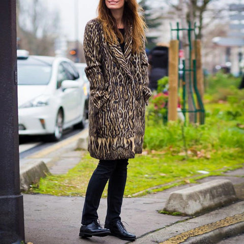 Women's Fashion Animal Print Long Coat