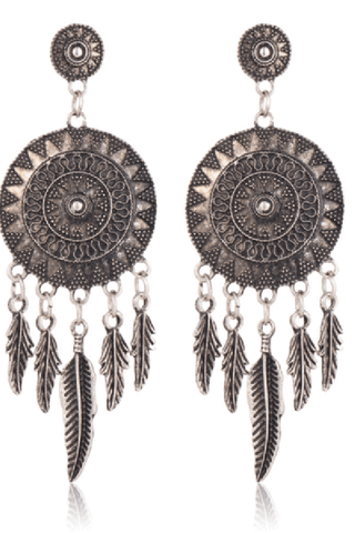 Vintage ethnic style carved feather tassel earrings