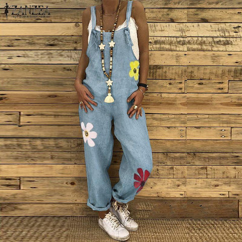 Casual Printed Long Jumpsuit