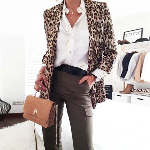 Women's Leopard Print Long Sleeve Blazer