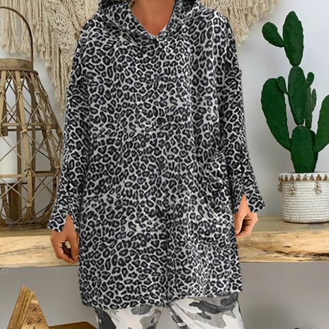 Casual Hooded Leopard Print Loose Coat&Overcoat