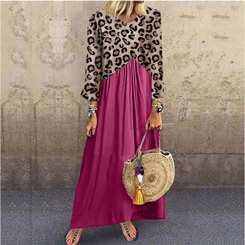Women's Casual Deep V-Neck Long Sleeve Leopard Print Loose Dress