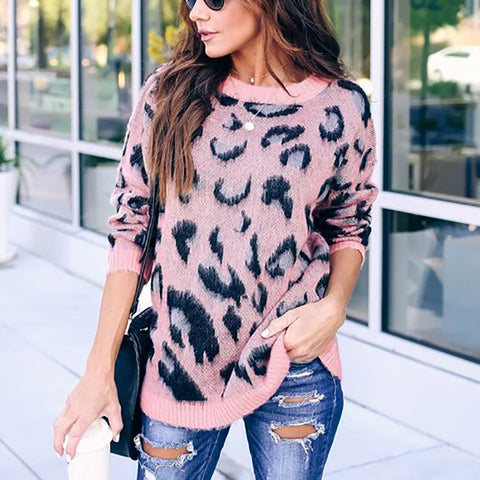 Fashion Round Neck Leopard Wild Sweater