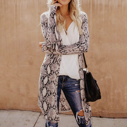Fashion Snake Print Long Sleeve Cardigan