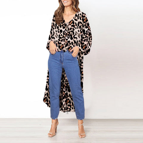 Sexy Casual Cardigan Long Sleeve v-neck Loose Shirt
