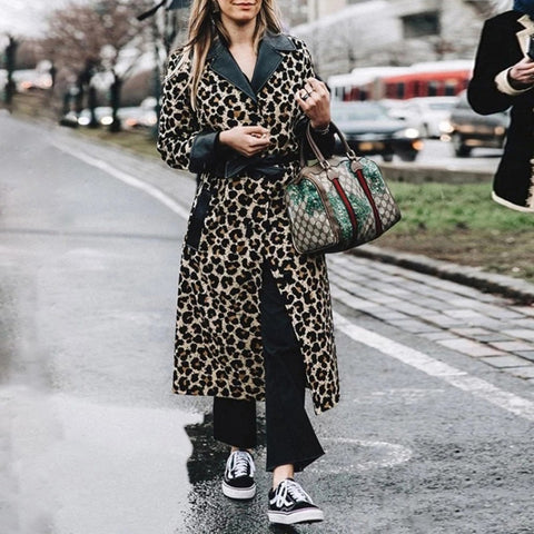 Fashion Sexy Leopard Print Long Coat