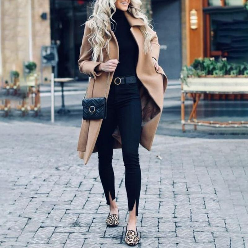 Casual Lapel Solid Color Long Sleeves With Woolen Coat