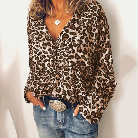 Fashion V-neck Leopard Print Long-sleeved Shirt