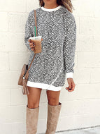 Fashion Leopard Round Neck Sweater Dress
