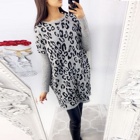 Fashion Loose Leopard Patchwork Long Sleeve Dress