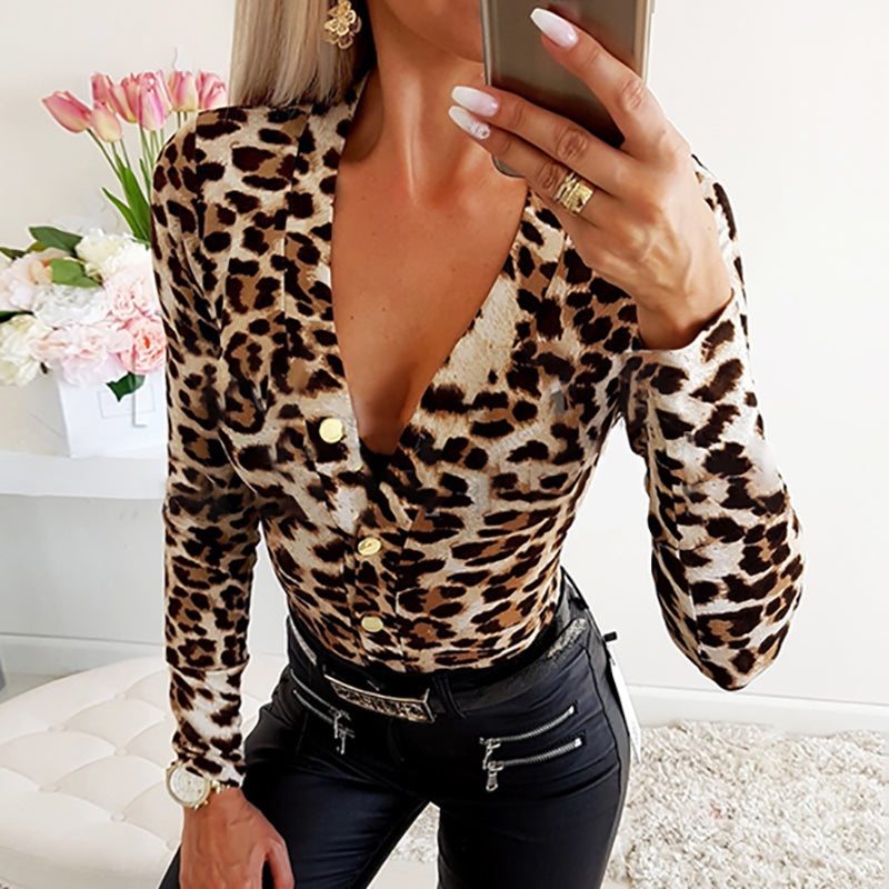 Sexy Deep V-neck Leopard Printed Long Sleeve T-shirts
