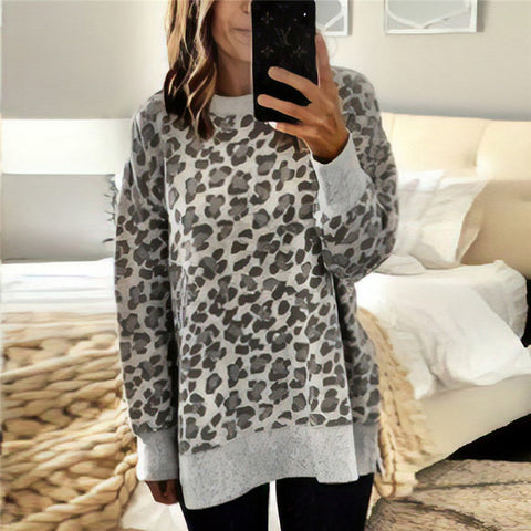 Leopard-print Round Neck Irregular Long-sleeved Sweater
