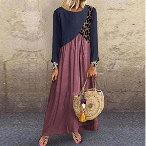 Round Neck Long Sleeve Stitching Dress