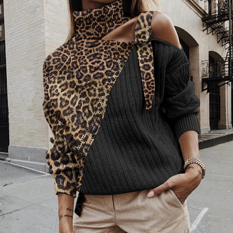 Sexy Leopard Printed High Neck Sweater