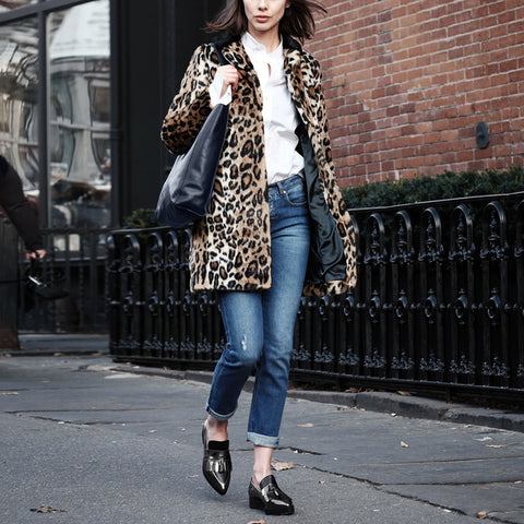 Leisure Lapel Long Sleeved Leopard Printing Overcoat