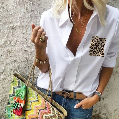 Women's Casual Leopard Pocket Shirt