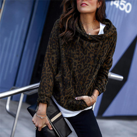 Sexy Leopard Pocket Hoodie Long Sleeve Sweater