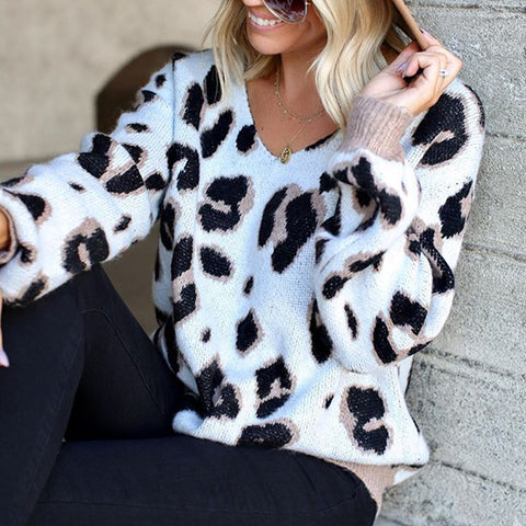Women's Casual Cow Pattern Round Neck Long Sleeve Sweater