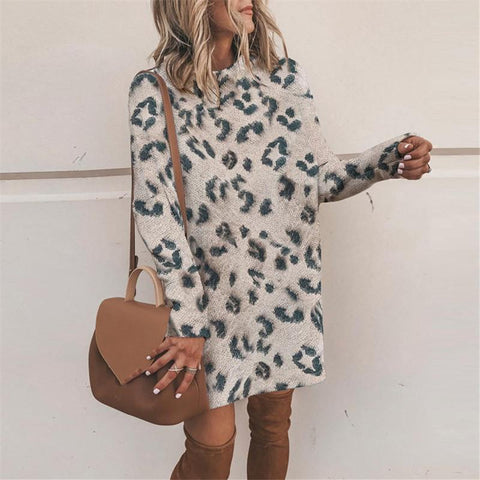 Casual Half High Collar Leopard Medium Length Dress