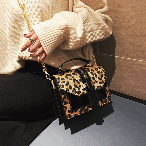 Women's Leopard Shoulder Chain Diagonal Small Square Bag
