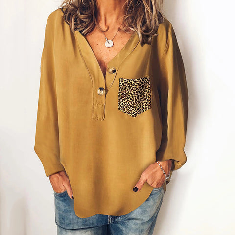 Casual solid color patch pocket button long sleeve loose top