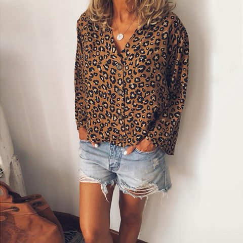 Women's Vintage V-Neck Leopard Print Long Sleeve Blouse